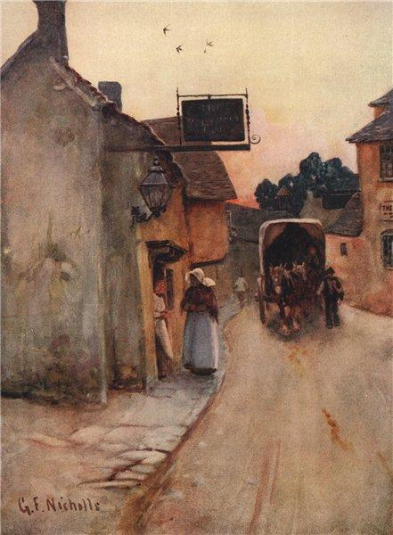 Associate Product FAIRFORD. Village Inn Horse cart. Cotswolds Gloucestershire. By GF Nicholls 1908