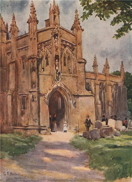 NORTHLEACH. Church porch. St Peter & St Paul. Cotswolds. Glos. GF Nicholls 1908