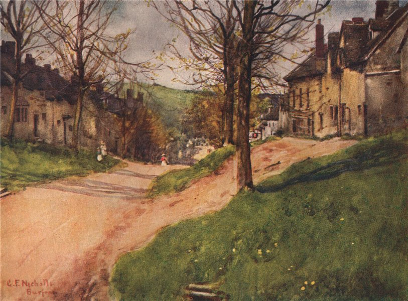 Associate Product BURFORD. View down The Hill. Cotswolds. Oxfordshire. By GF Nicholls 1908 print