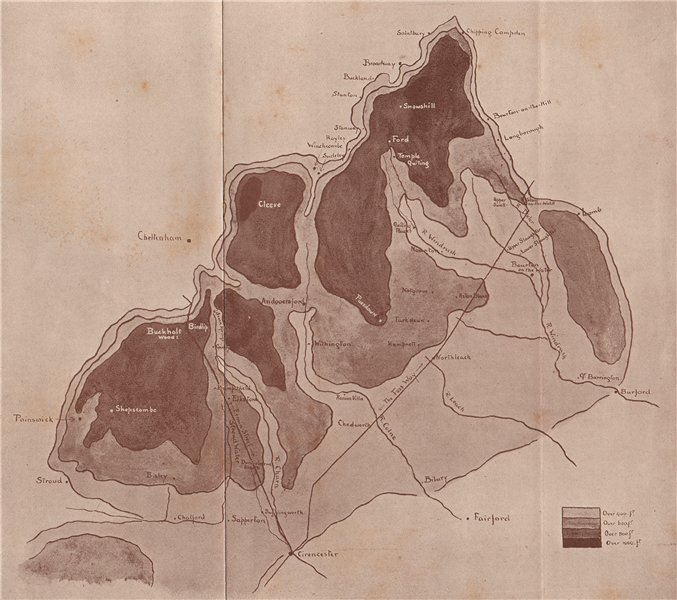 Associate Product COTSWOLDS. Sketch map of Central and Northern Cotswolds. By GF Nicholls 1908