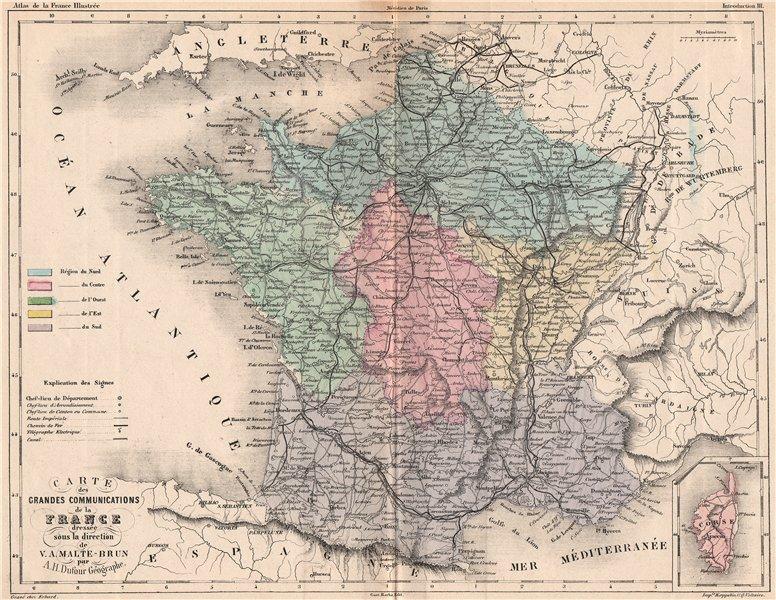 Associate Product FRANCE. Grandes communications. Railways roads regions. MALTE-BRUN 1852 map