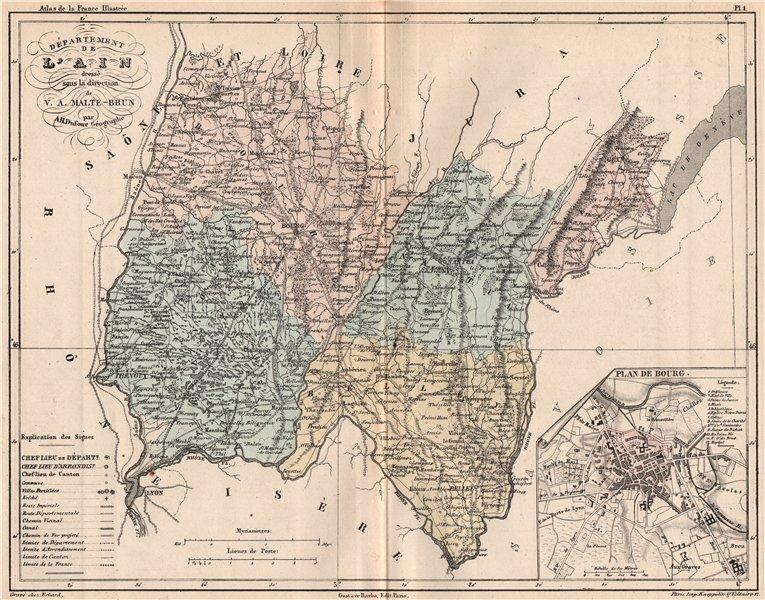 Associate Product AIN. Carte du département. Plan de Bourg. MALTE-BRUN 1852 old antique map