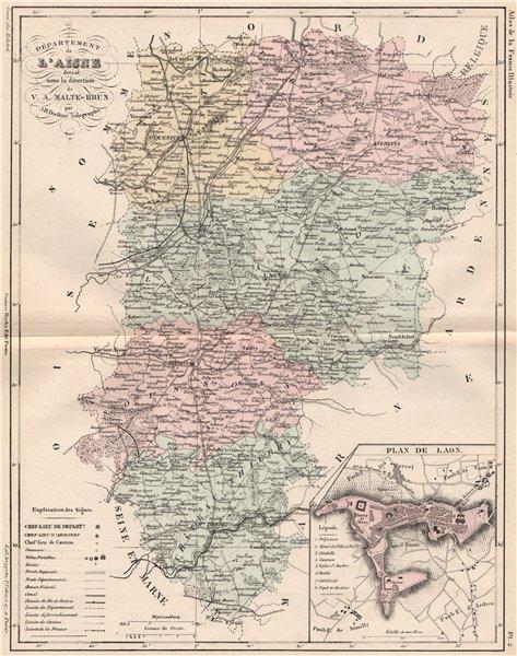 Associate Product AISNE. Carte du département. Plan de Laon. MALTE-BRUN 1852 old antique map
