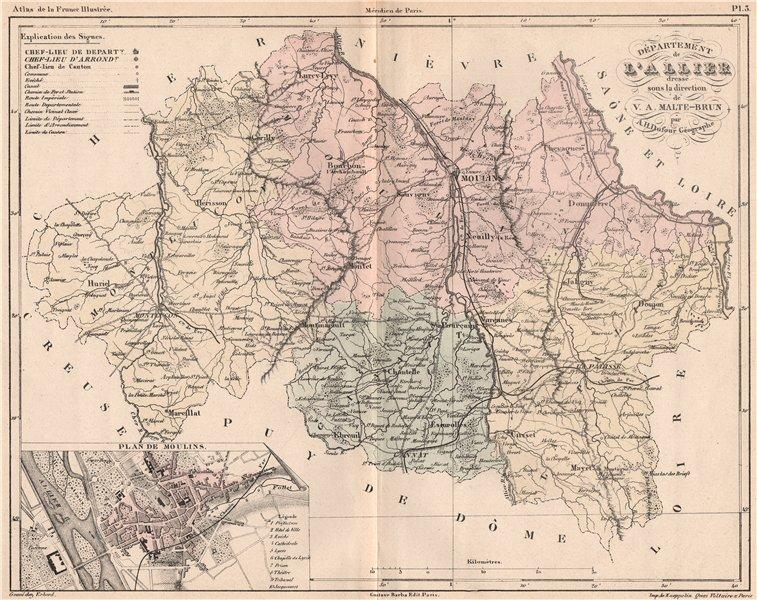 Associate Product ALLIER. Carte du département. Plan de Moulins. MALTE-BRUN 1852 old antique map