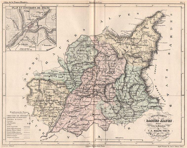 Associate Product ALPES-DE-HAUTE-PROVENCE. Alpes-de-Haute-Provence. Digne. MALTE-BRUN 1852 map