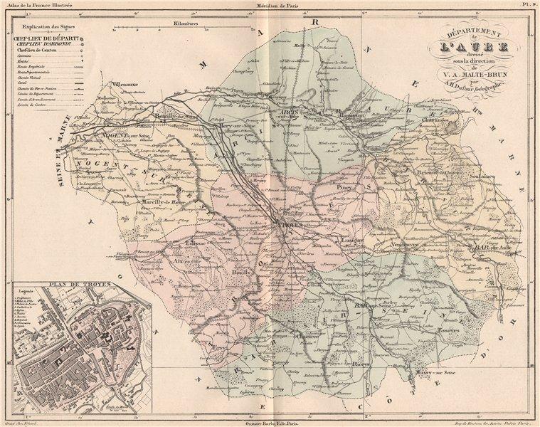 Associate Product AUBE. Carte du département. Plan de Troyes. MALTE-BRUN 1852 old antique map