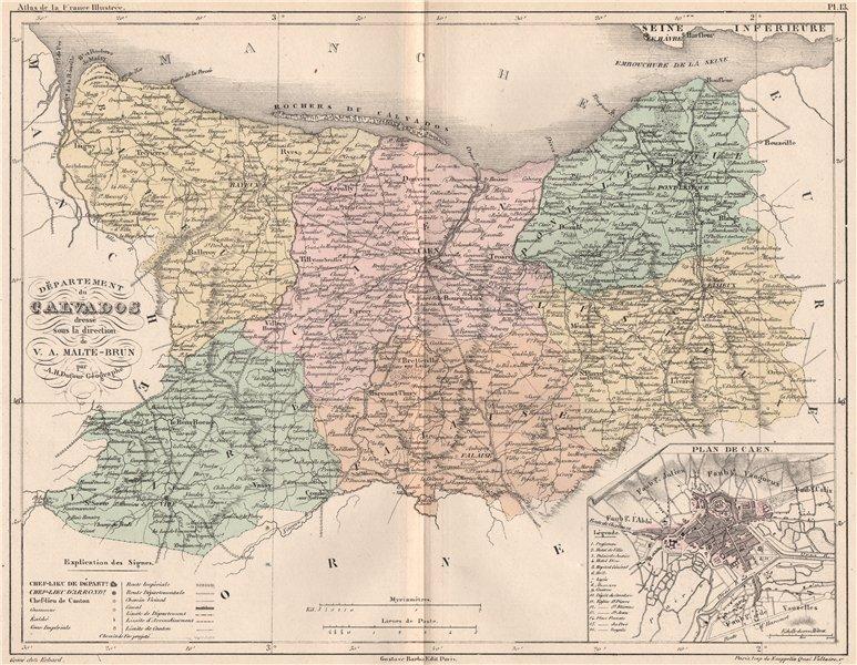 Associate Product CALVADOS. Carte du département. Plan de Caen. MALTE-BRUN 1852 old antique map
