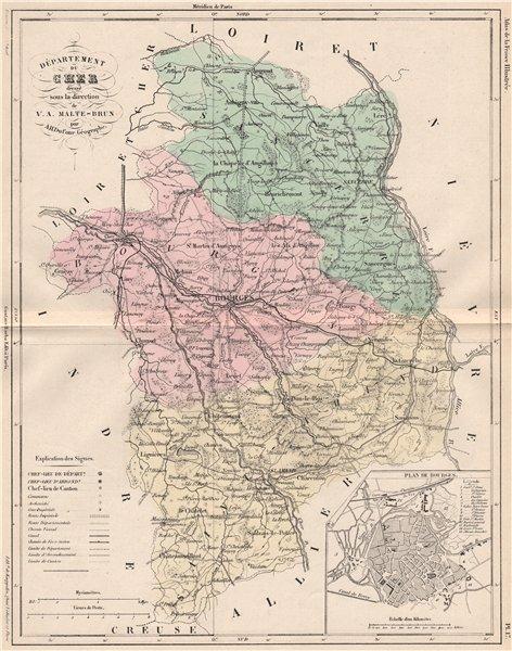Associate Product CHER. Carte du département. Plan de Bourges. MALTE-BRUN 1852 old antique map