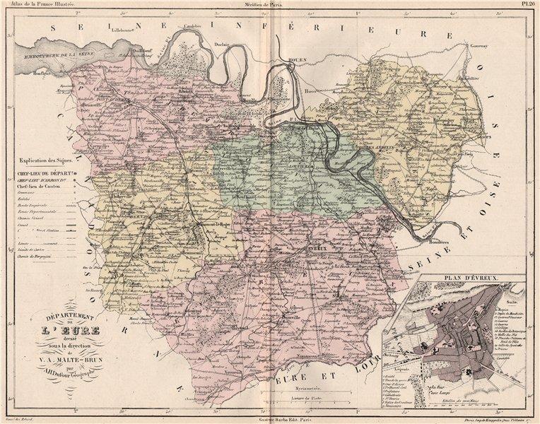 Associate Product EURE. Carte du département. Plan d'Évreux. MALTE-BRUN 1852 old antique map