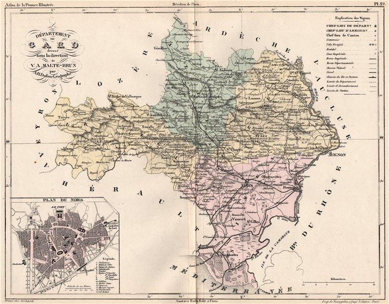 Associate Product GARD. Carte du département. Plan de Nimes. MALTE-BRUN 1852 old antique map