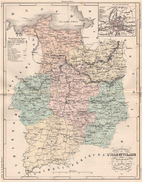 Associate Product ILLE-ET-VILAINE. Carte du département. Plan de Rennes. MALTE-BRUN 1852 old map