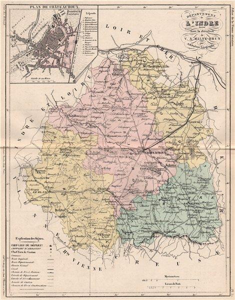 Associate Product INDRE. Carte du département. Plan de Châteauroux. MALTE-BRUN 1852 old map