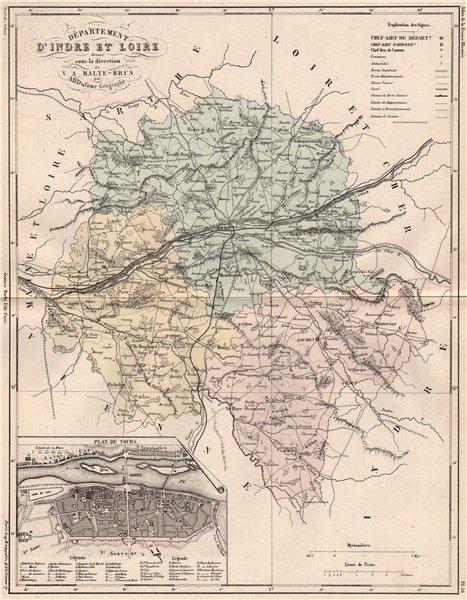 Associate Product INDRE-ET-LOIRE. Carte du département. Plan de Tours. MALTE-BRUN 1852 old map