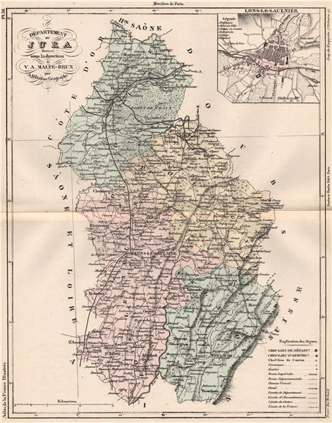 JURA. Carte du département. Lons-le-Saulnier. MALTE-BRUN 1852 old antique map
