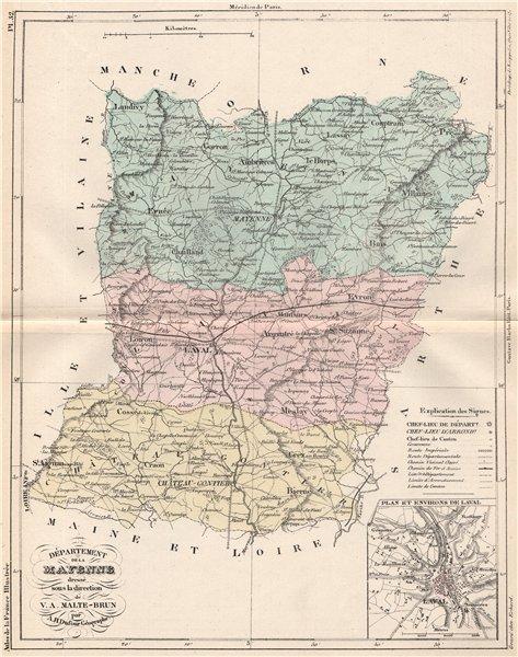 Associate Product MAYENNE. Carte du département. Plan et Environs de Laval. MALTE-BRUN 1852 map