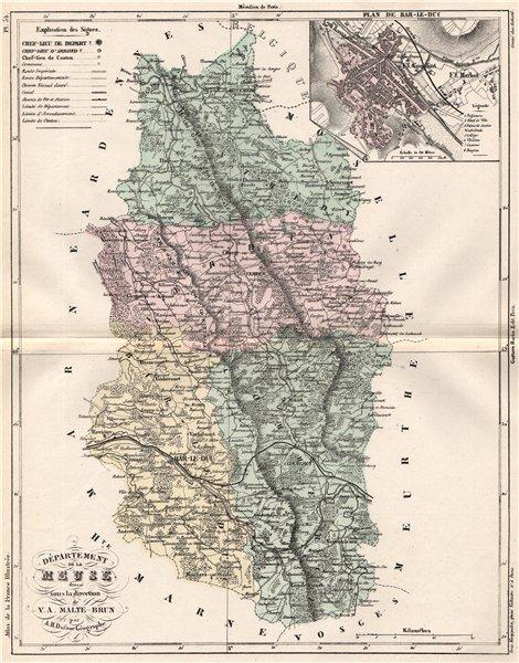 Associate Product MEUSE. Carte du département. Plan de Bar-le-Duc. MALTE-BRUN 1852 old map