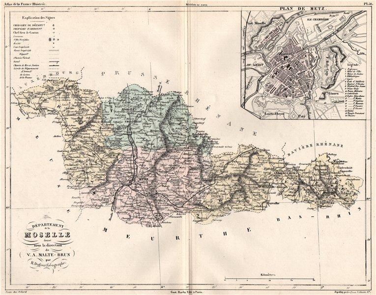 MOSELLE. Carte du département. Plan de Metz. MALTE-BRUN 1852 old antique map