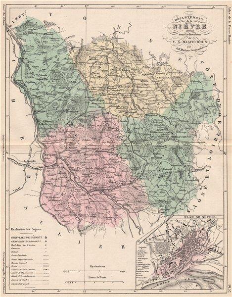 Associate Product NIÈVRE. Carte du département. Nievre. Plan de Nevers. MALTE-BRUN 1852 old map