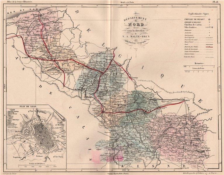 Associate Product NORD. Carte du département. Plan de Lille. Railways. MALTE-BRUN 1852 old map