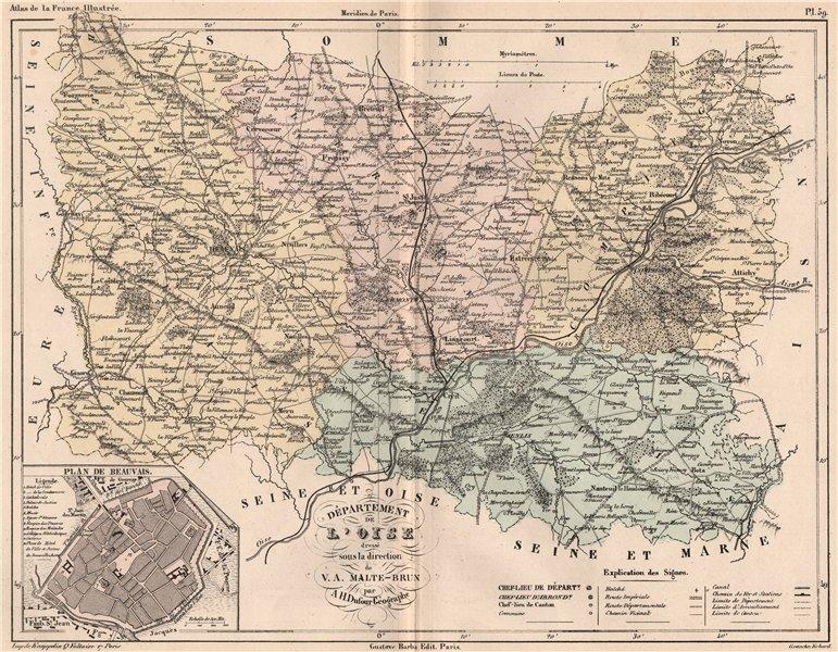 Associate Product OISE. Carte du département. Plan de Beauvais. MALTE-BRUN 1852 old antique map