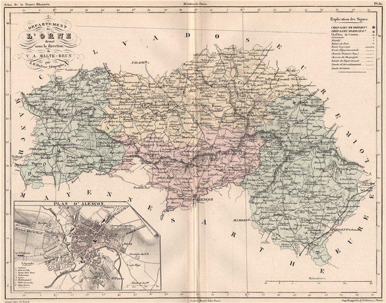 Associate Product ORNE. Carte du département. Plan d'Alencon. MALTE-BRUN 1852 old antique map