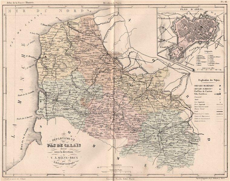 Associate Product PAS-DE-CALAIS. Carte du département. Plan d'Arras. MALTE-BRUN 1852 old map