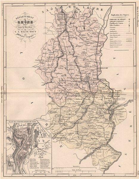 Associate Product RHÔNE. Carte du département. Rhone. Fortifications de Lyon. MALTE-BRUN 1852 map
