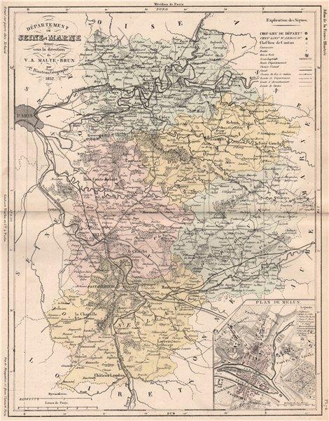 Associate Product SEINE-ET-MARNE. Carte du département. Plan de Melun. MALTE-BRUN 1852 old map