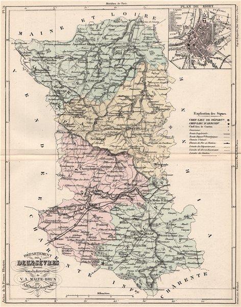 Associate Product DEUX-SÈVRES. Carte du département. Sèvres. Plan de Niort. MALTE-BRUN 1852 map