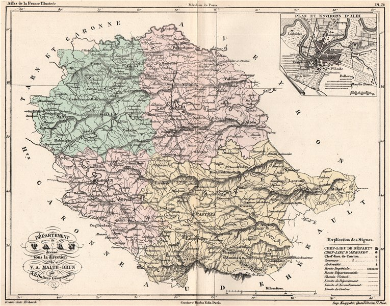 Associate Product TARN. Carte du département. Plan et Environs d'Albi. MALTE-BRUN 1852 old map