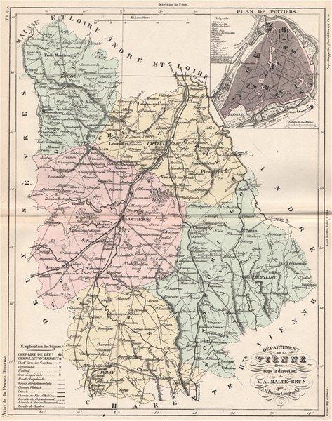 Associate Product VIENNE. Carte du département. Plan de Poitiers. MALTE-BRUN 1852 old map