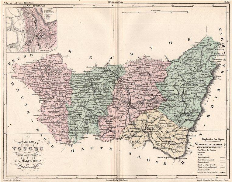 Associate Product VOSGES. Carte du département. Plan d'Epinal. MALTE-BRUN 1852 old antique map
