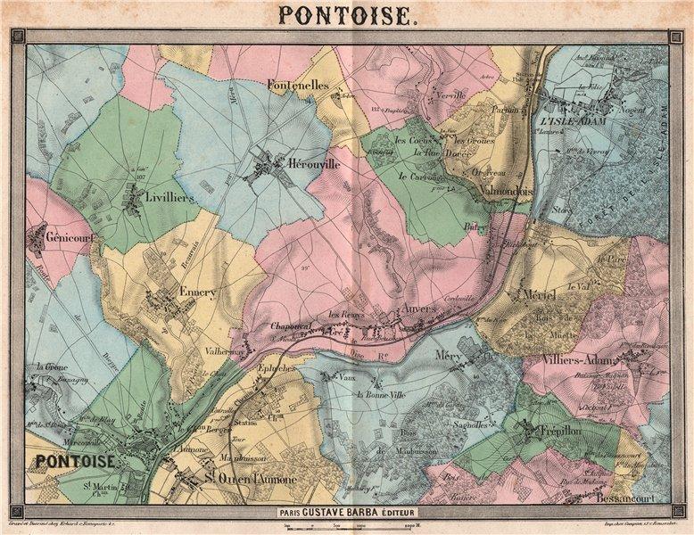 PARIS NW. Pontoise Hérouville Méry St Ouen L'Isle-Adam Frépillon 1860 old map