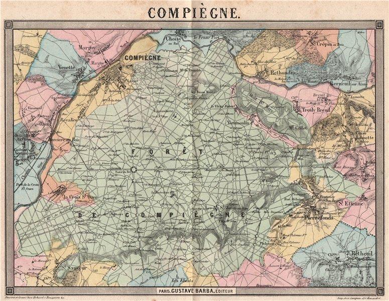 Associate Product COMPIÈGNE. Pierrefonds Rétheuil Rethondes Margny Lacroix Choisy 1860 old map