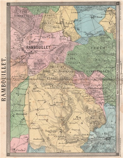 Associate Product YVELINES. Rambouillet St Arnoult Sonchamp Clairefontaines Orcemont 1860 map