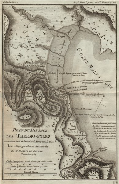 Associate Product BATTLE OF THERMOPYLAE 480BC. Persian invasion of Greece. Xerxes. BOCAGE 1790 map