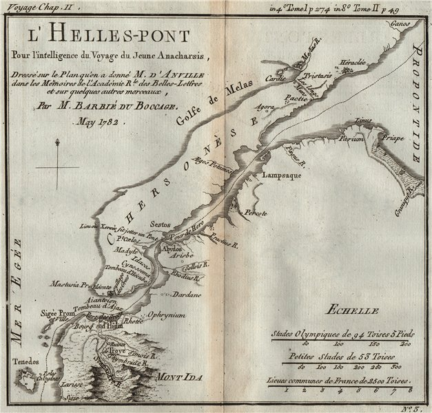 Associate Product DARDANELLES L'Helles-Pont. Hellespont. Ancient World. BARBIÉ DU BOCAGE 1790 map