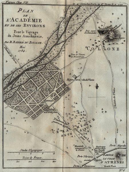 Associate Product PLATONIC ACADEMY. Plan de l'académie. Hippeios Colonus. Athens. BOCAGE 1790 map