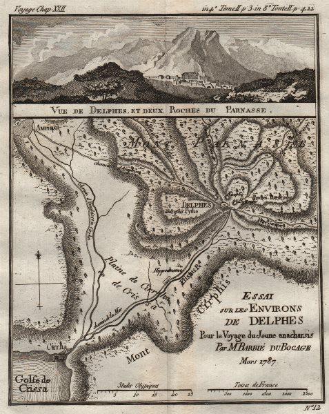 """Associate Product ANCIENT GREECE. """"Environs de Delphes"""". Delphi . BARBIÉ DU BOCAGE 1790 old map"""
