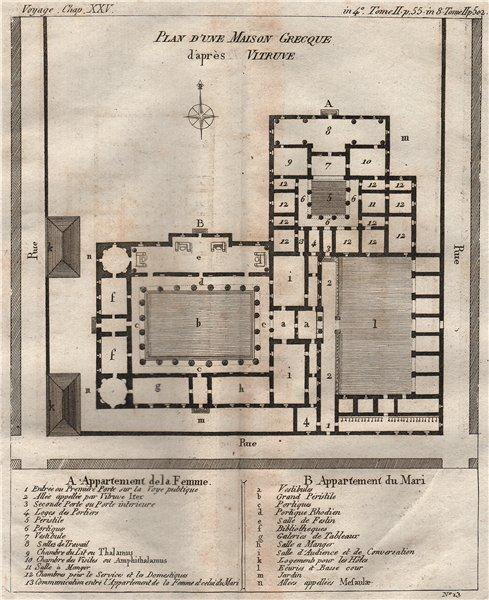 """Associate Product ANCIENT GREECE.Greek House plan.""""Plan d'une Maison Grecque"""".Vitruvius 1790 map"""