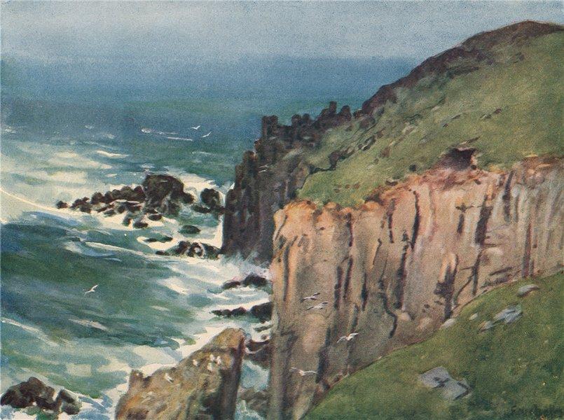 Associate Product LAND'S END. Coastal view of cliffs & sea. Cornwall. By G. F. Nicholls 1915