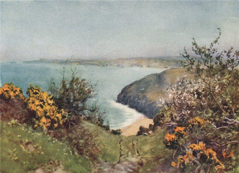 Associate Product CARBIS BAY. Coastal view of the beach, cliffs & sea. By G. F. Nicholls 1915