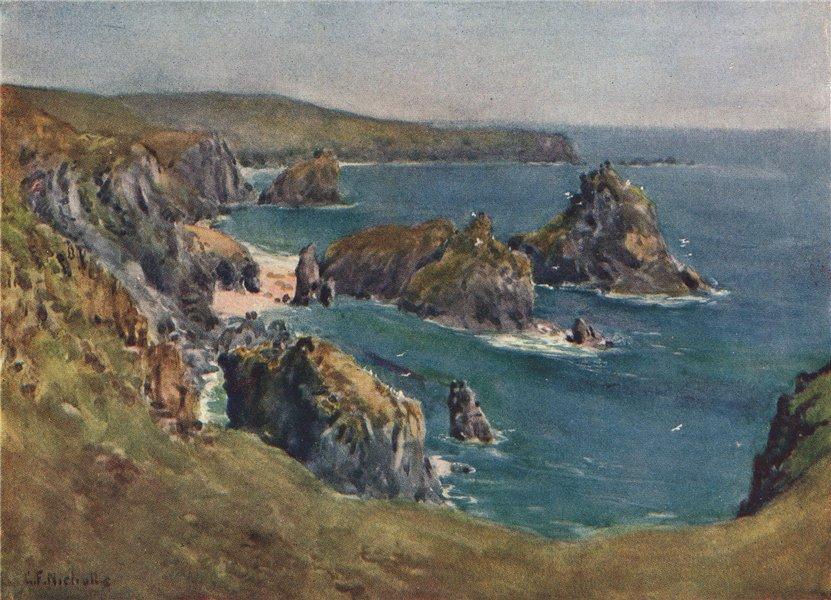 Associate Product KYNANCE COVE. Coastal view of cliffs & sea. Cornwall. By G. F. Nicholls 1915