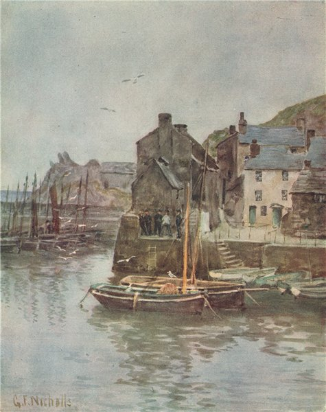 Associate Product POLPERRO. View of the harbour. Fishing boats. By G. F. Nicholls 1915 old print