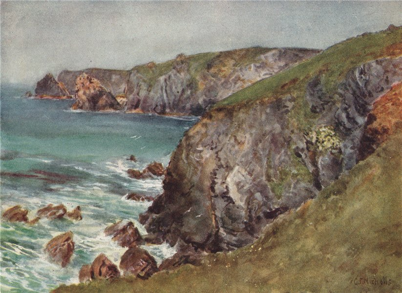 Associate Product THE LIZARD. View of the coast. Cliffs & sea. Cornwall. By G. F. Nicholls 1915