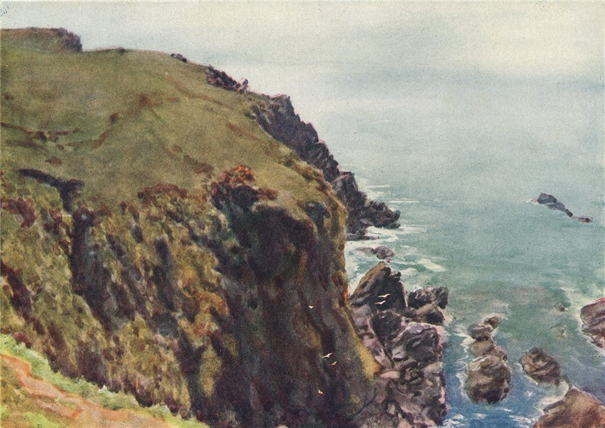 Associate Product CAERTHILIAN COVE. Coastal view beach, cliffs sea. By G. F. Nicholls 1915 print