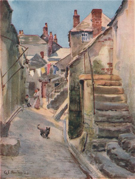 Associate Product ST IVES. A street in the town. Cornwall. By George Franck Nicholls 1915 print