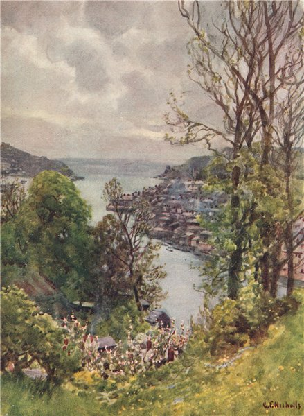 Associate Product FOWEY. view of the town from Boddinock. Cornwall. By G. F. Nicholls 1915 print