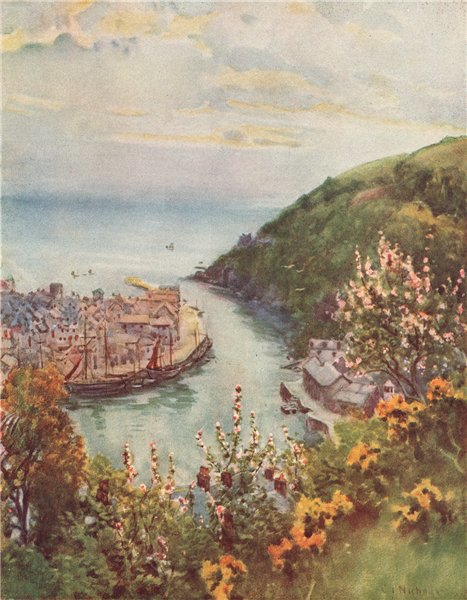Associate Product LOOE. view of the town & river. Cornwall. By G. F. Nicholls 1915 old print