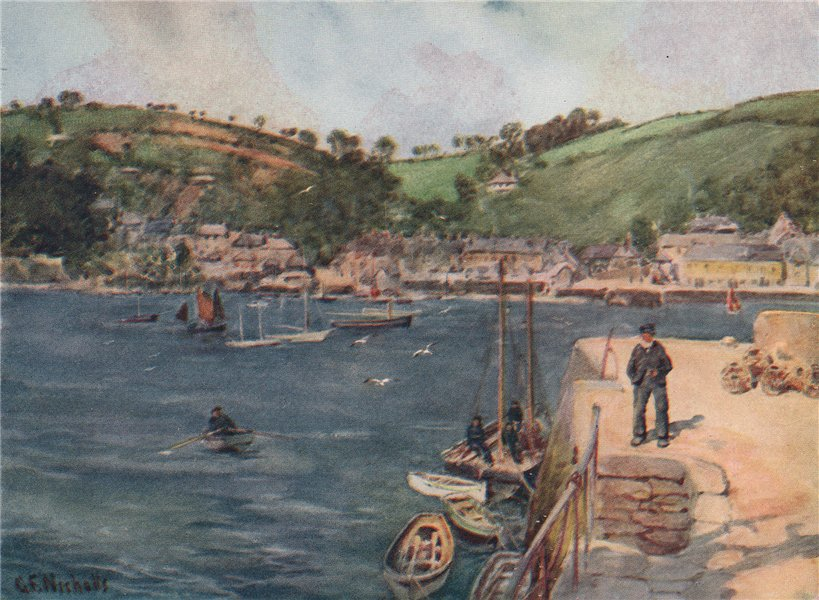 FLUSHING. View from Falmouth. Penrhyn river. Cornwall. By G. F. Nicholls 1915